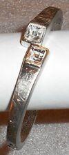 Bracelet Hinged Bangle Glass Pewter Brushed Oval Square Design Sold Individual