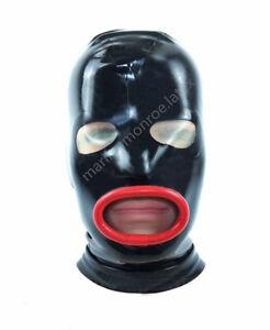 100% Latex rubber black hood open eyes,mouth headgear 0.4MM size:xxs-xxl