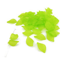 Buddly Crafts 18mm Frosted Transparent Leaf Beads - 50pcs Green BL5