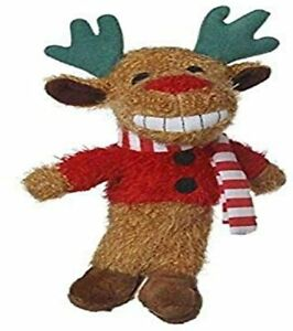 Multipet Pet Christmas Holiday mini Loofa dog toy Reindeer with candy cane scarf