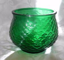 VINTAGE! Emerald Green Glass Bowl Vase FISH SCALE Pattern E. O. Brody Co. USA