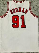 Chicago Dennis Rodman Signed White Jersey Black Auto - BAS Beckett COA