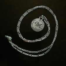 """Scorpio Scorpion Pendant Necklace on 28"""" Sterling Silver Figaro Chain 25mm diam"""