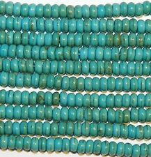 NG1910j Blue-Green Turquoise 4mm Rondelle Magnesite Gemstone Beads 16""