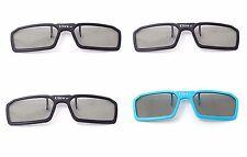 4 Pairs of 3 Black 1 Blue 3D Clip on Glasses Passive 3d Tvs Cinema 3D RealD Imax