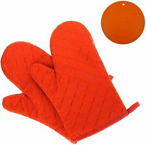 GoFriend RED Oven Gloves Heat Resistant  to 425c Non-Slip with free trivet