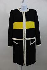 ESCADA BLACK IVORY YELLOW WOOL SHEATH DRESS & CROP JACKET 2 PC SUIT SZ 38 US 8