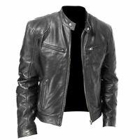 Men's Biker Vintage Motorcycle Distressed Black Faded Genuine Leather Jacket