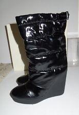 EUC Coach Farran Sport Patent Black/Black Puffer Platform Wedge Winter Boots 8M