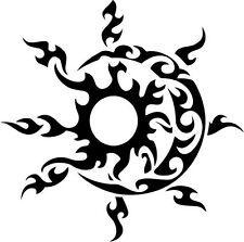 "Tribal Sun Moon Vinyl Decal Sticker Truck Window- 6"" Tall White Color"