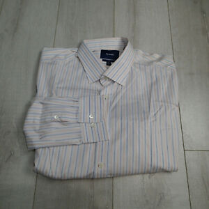 NWT FACONNABLE Club Men Long Sleeve Striped Dress Shirt 47  18.5 L white multi