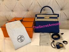 Authentic Hermes Electric Blue 32 Togo Leather Gold Hardware Kelly Bag Receipt