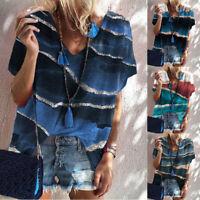 Women Summer V-Neck Short Sleeve Patchwork Colorblock T-Shirt Casual Loose Tops