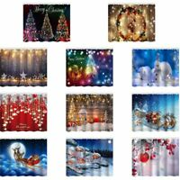 Merry Christmas Baubles Xmas Tree Shower Curtain Set Bathroom Waterproof New