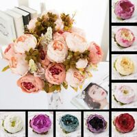 10Pcs Artificial Fake Rose Peony Head Silk Flower Bridal Hydrangea Wedding Decor
