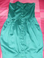 "Topshop boutique Motel green strapless dress elasticated back - Size XS - 25""L"