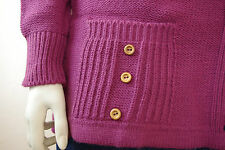 True VINTAGE Strick Jacke OVP 80er Jahre Damen lila Gr. 44 NOS shirt knitted XL