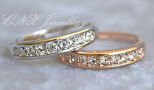 18K White Rose Gold GP Diamond Crystal Wedding Band Engagement Ring Pinky Thumb