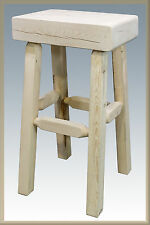 Unfinished Wood Bar Stools Rustic Pine Farmhouse Barstool Amish Lodge Cabin
