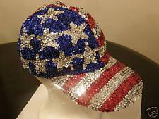 SEQUIN USA FLAG BASEBALL CAP ENTERTAINER JULY 4TH PARADE COSTUME  MEMORIAL DAY !