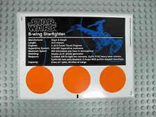 LEGO Star Wars 10227 - B-Wing Starfighter - STICKER / AUFKLEBER Decals UCS