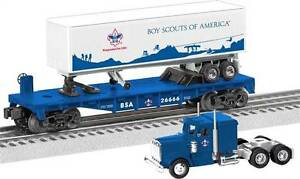 discontinued lionel Boy Scouts of America O27 Flat Car w/Tractor Trailer new in