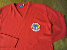 vtg RED V-neck SWEATER usa UNITED STATES OF AMERICA patch BOYS L 16-18 TRICOT
