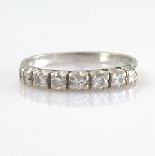 18ct 18k oro bianco sette pietra diamante metà eternità anello taglia J timbrato 750
