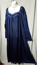BRAND NEW NAVY BLUE W/TRIM NYLON ANKLE LENGTH LONG SLEEVE NIGHTGOWN SIZE 4X GIFT