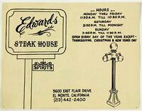 Original Vintage Menu EDWARDS STEAK HOUSE Restaurant El Monte CA