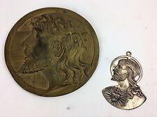 Antique Religious bronze relief plaque and pendant Jesus Christ