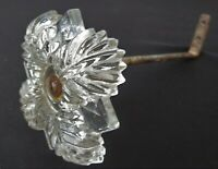 Antique Vintage Glass Curtain TIE BACK W Hardware Glass Flower Good Condition
