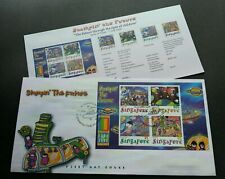 Singapore USA Expo Stampin The Future 2000 Child Painting UFO Alien Space (FDC)