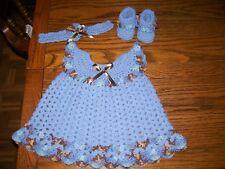 Handmade Crochet Baby Girl Dress Set. Blue/Variegated Fits approx. 3-6 mo.
