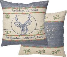 "Holiday reindeer farmhouse grain feed sack cotton Christmas pillow 16""  2-sided"