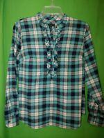 1884) TALBOTS 8 Petite blue paid pullover 1/2 button w/ruffle cotton blouse 8p