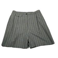 Bette & Court Women's Vintage Shorts ~ Sz 12 ~ Gray ~ Plaid ~Stretchy High Rise