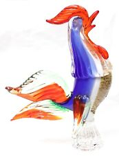 Vintage Murano Blown Glass Rooster Art Sculpture Chicken Italy Italian Red Blue
