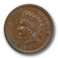 1864 1C L On Ribbon Indian Cent About Uncirculated to Mint State R120