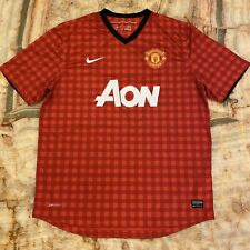 Men's Nike Dri-Fit Red Plaid Manchester United Aon Authentic Soccer Jersey Xl