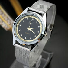 Ladies Fashion Silver Black & Gold & Crystal Design Dial Mesh Band Wrist Watch.