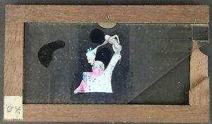 VICTORIAN HAND PAINTED MAGIC LANTERN SLIPPING SLIDE / MONKEY PULLS WIG OFF