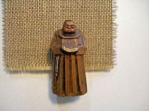 Vintage Wood Monk Friar w/ Bible, Made in Switzerland, Black Zucchetto, Folk Art