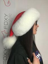Santa hat: Pure white Fox Fur trim. Red velvet top with pompon.