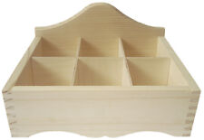 Pine wood 6 compartment open storage DD136 tea case small items store display