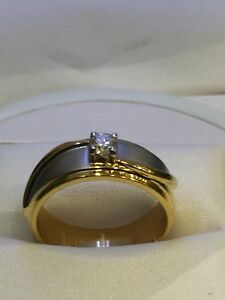 Classy 0.24 Cts Round Brilliant Cut Diamond Wedding Men's Ring In Solid 14K Gold