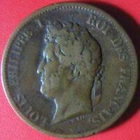 1841-A FRENCH COLONIES 5 CENTIMES LOUIS PHILIPPE PARIS MINT BRONZE 9.4gr 27.3mm