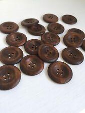 6 Piezas Café Oscuro 4 orificios redondos de madera coser botones Scrapbooking 35 mm (273)