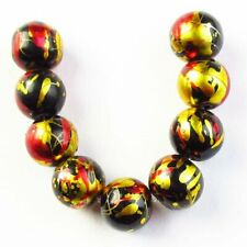 9Pcs/Set 10mm Black Gold Red Titanium Crystal Ball Pendant Bead S11265