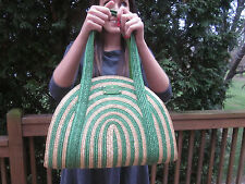 Kate Spade NY Lawn Party Medium green cruise Tote Bag Wicker Kelly Natural Straw